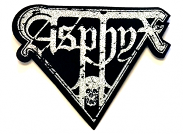 "ASPHYX ""Distorted Logo"" (silver) iron on patch"